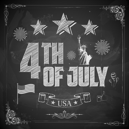 4th: illustration of 4th of July background on chalkboard