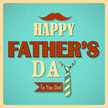 illustration of Happy Fathers Day retro background Vector