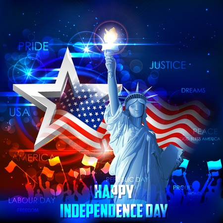 president of usa: illustration of Statue of Liberty on American flag background for Independence Day