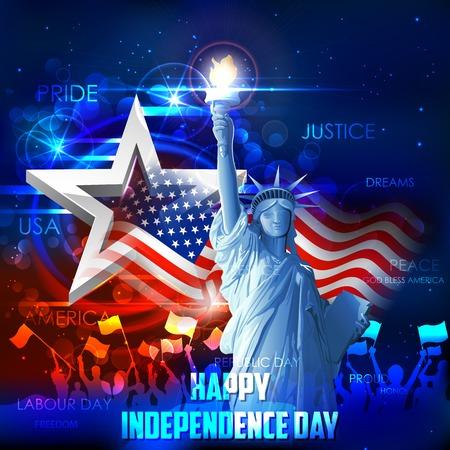 julio: ilustración de la estatua de la libertad en fondo de la bandera americana para el Día de la Independencia Vectores