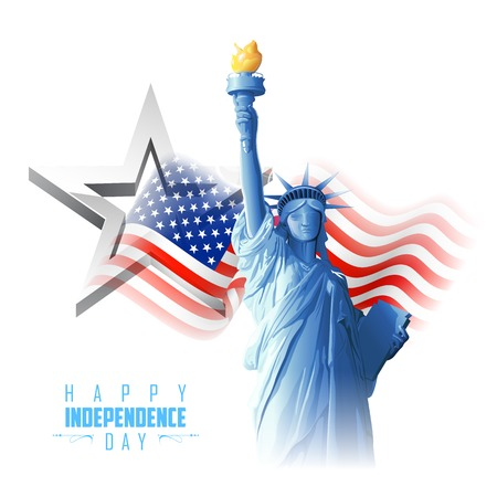 독립 기념일에 대 한 미국 국기 배경에 자유의 여신상 그림 일러스트