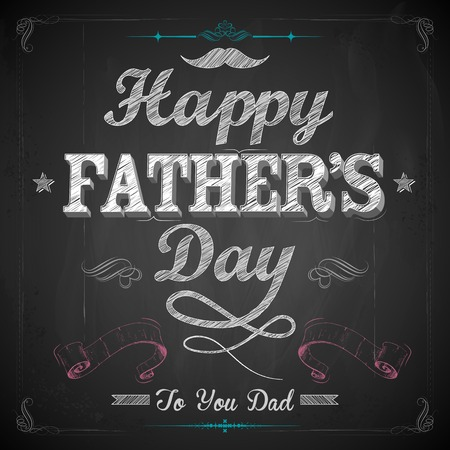 illustration of Happy Fathers Day on chalk board Illustration
