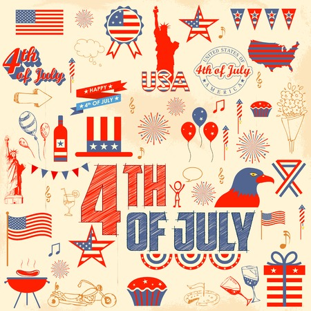 president day: illustration of design element for 4th of July