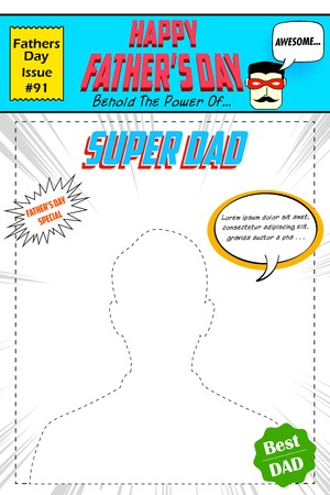 illustration of Happy Fathers Day comic book cover in pop art style Vector
