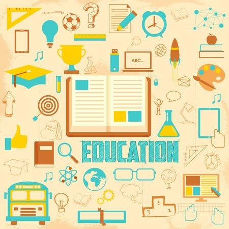 sketch book: illustration of retro education background