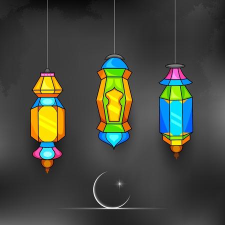 ramzan: ilustraci�n de la l�mpara de iluminaci�n en el Ramad�n Kareem (Ramad�n Generoso) de fondo Vectores