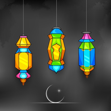 illustration of illuminated lamp on Ramadan Kareem (Generous Ramadan) background