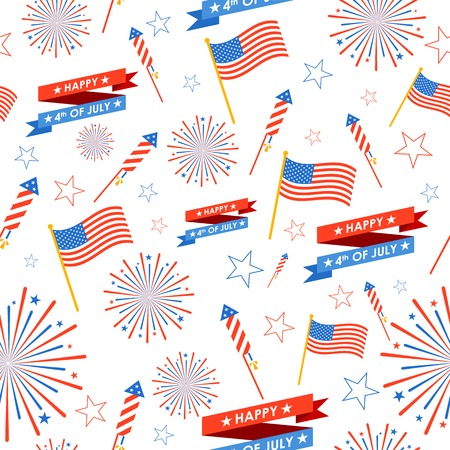 firework: illustration of seamless pattern for 4th of July