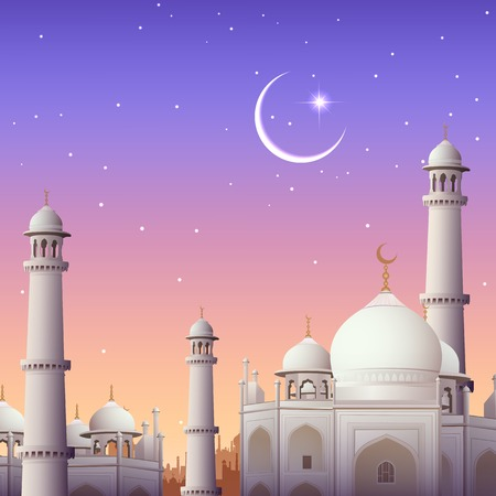 Illustration der Eid Mubarak (Happy Eid) Hintergrund mit Moschee Standard-Bild - 29273124