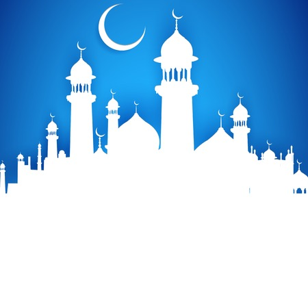 chand: illustration of illustration of Eid ka Chand Mubarak (Wish you a Happy Eid Moon)  with mosque