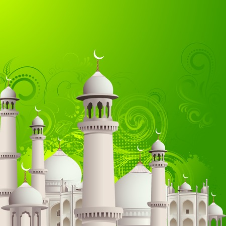 iftar: illustration of Eid Mubarak (Happy Eid) background with mosque