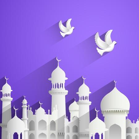chand: ilustraci�n de Eid Mubarak (Eid feliz) de fondo con la mezquita Vectores