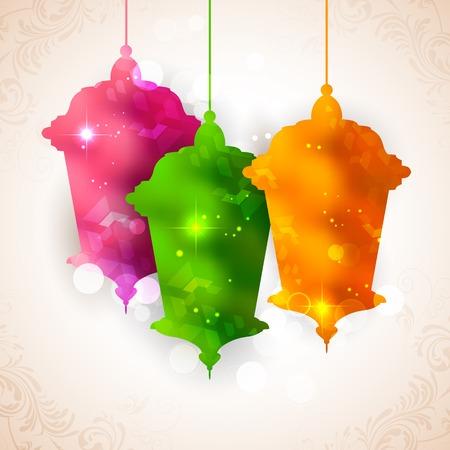ramzan: ilustraci�n de la l�mpara iluminada en Eid Mubarak (Feliz Eid) fondo