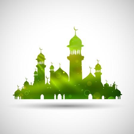 ramzan: ilustraci�n de Eid Mubarak (Eid feliz) de fondo con la mezquita Vectores