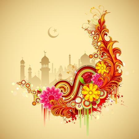 ilustraci�n del Ramad�n Kareem (Ramad�n Generoso) de fondo con la mezquita