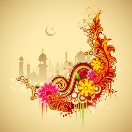 illustration of Ramadan Kareem (Generous Ramadan) background with mosque