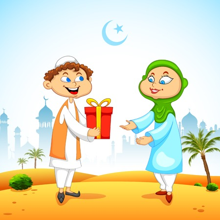 giving gift: illustration of people presenting gift to celebrate Eid Illustration