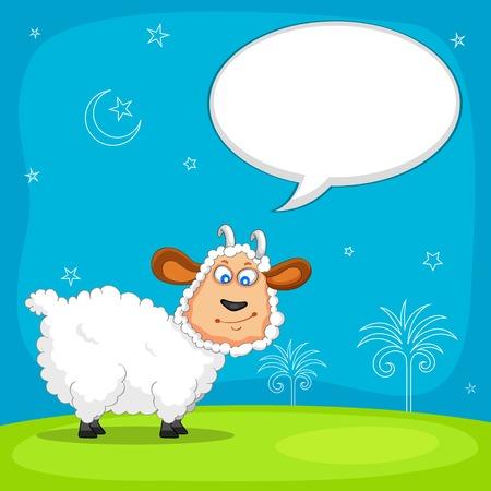 sacrificio: ilustración de las ovejas que deseen Eid mubarak Vectores
