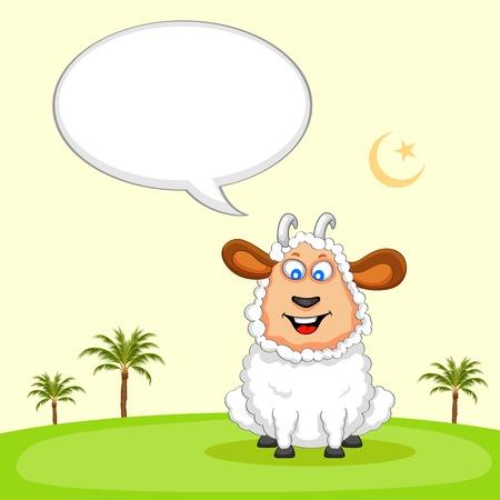 mubarak: illustration of sheep wishing Eid mubarak Illustration