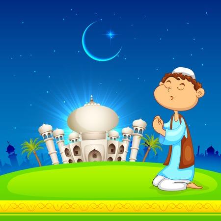 muslim prayer: illustration of kid offering namaaz for Eid celebration Illustration