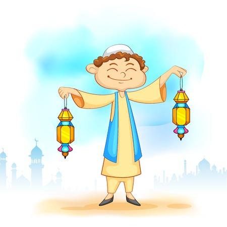 colorful lantern: illustration of kid holding colorful lantern for Eid celebration