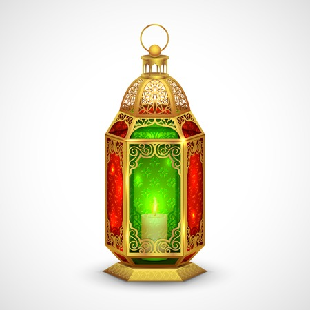 ramadhan: illustration of illuminated lamp on Eid Mubarak  Happy Eid  background