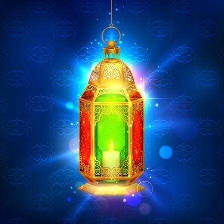 ramadan background: illustration of illuminated lamp on Ramadan Kareem  Generous Ramadan  background Illustration