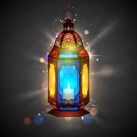 ramzan: illustration of illuminated lamp on Ramadan Kareem  Generous Ramadan  background Illustration