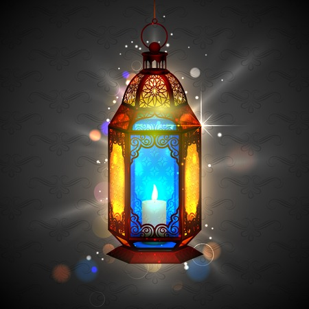 illustration of illuminated lamp on Ramadan Kareem  Generous Ramadan  background Illustration