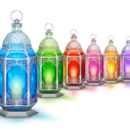 religious event: illustration of illuminated lamp on Ramadan Kareem  Generous Ramadan  background Illustration