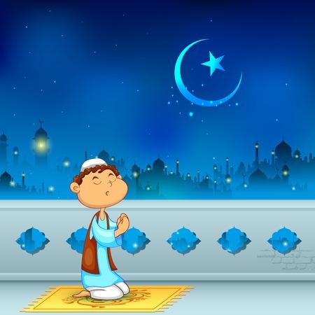 illustration of kid offering namaaz for Eid celebration Vector