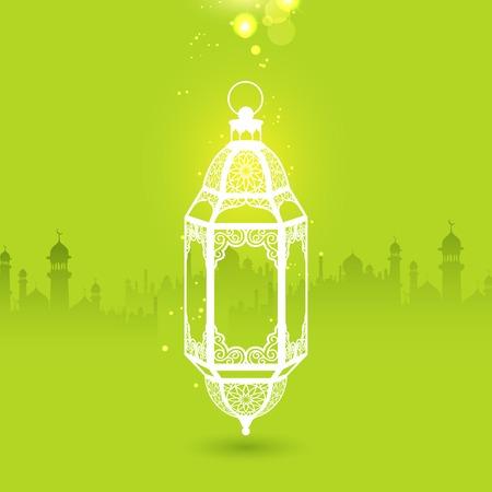 generoso: ilustración del Ramadán Kareem saludo Ramadán Generoso con lámpara iluminada