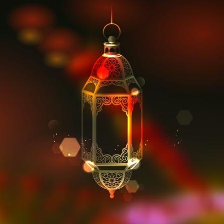 illustration of Ramadan Kareem  Generous Ramadan  greeting with illuminated lamp Vector