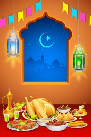 festival occasion: illustration of delicious dishes for Iftar party