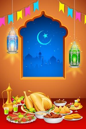 santa cena: ilustración de deliciosos platos para el banquete de Iftar