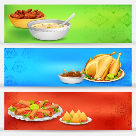 iftar: illustration of delicious dishes for Iftar party banner