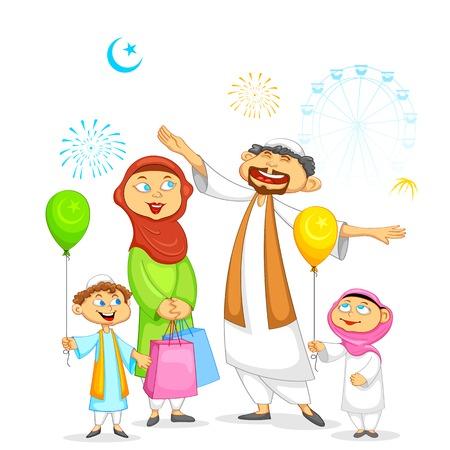 holiday gathering: illustration of muslim family celebrating Eid
