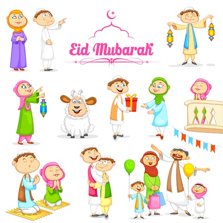 child praying: illustration of muslim people celebrating Eid
