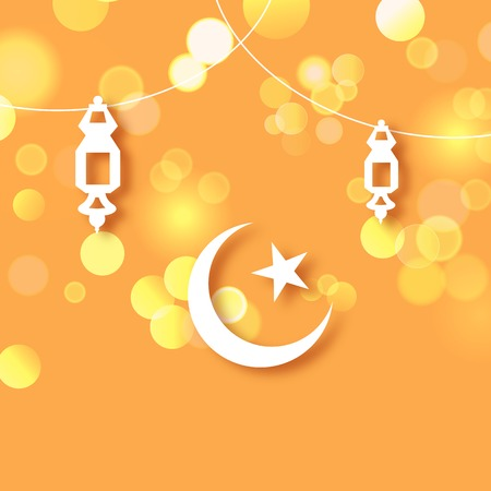 illustration of illuminated lamp on Eid Mubarak  Happy Eid  background