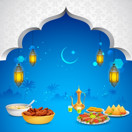ul: illustration of delicious dishes for Iftar party