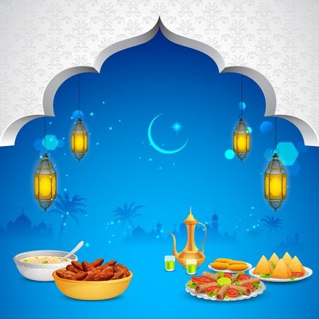 ramzan: ilustraci�n de deliciosos platos para el banquete de Iftar