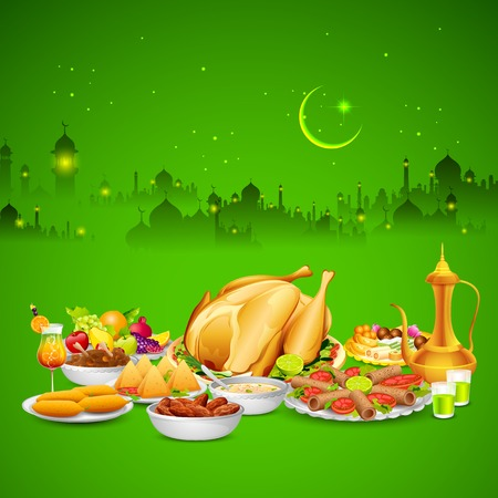 illustration of delicious dishes for Iftar party Vector