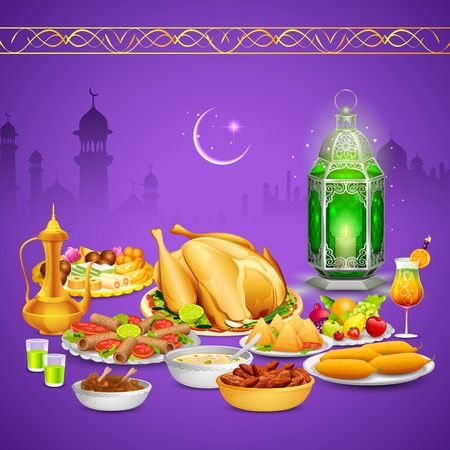 iftar: illustration of delicious dishes for Iftar party