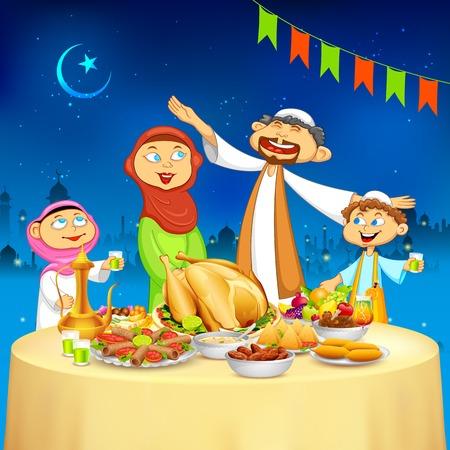santa cena: ilustración de familia musulmán celebrar Eid en el partido Iftar