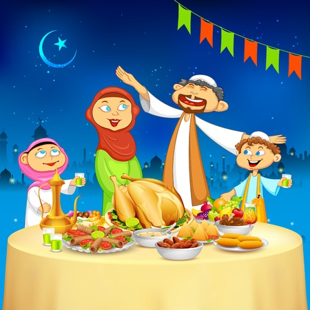 dinner food: ilustraci�n de familia musulm�n celebrar Eid en el partido Iftar