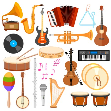 illustration of music instrument in flat style Stok Fotoğraf - 30027985