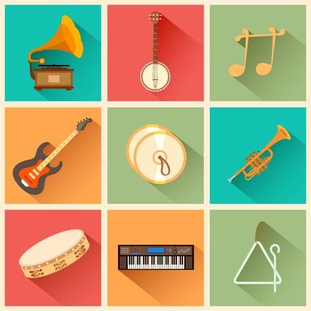 pandero: ejemplo de instrumento musical en estilo plano Vectores