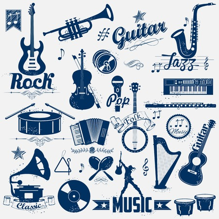 arpa: ilustración del sello de música retro en mirada de la vendimia Vectores