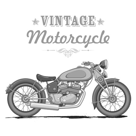 roadster: illustration of vintage motorcycle on white background