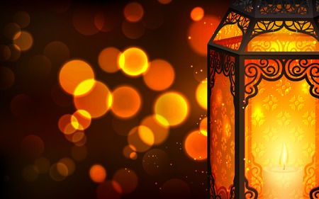 illustration of illuminated lamp on Eid Mubarak  Happy Eid  background